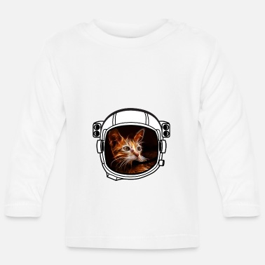 Armstrong helmet cat Astronaut all above ground cool funny - Baby Long Sleeve T-Shirt