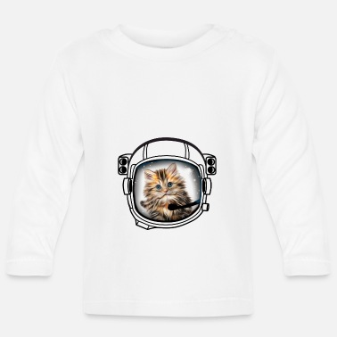 Armstrong cat helmet cosmonaut astronaut universe fun cool - Baby Long Sleeve T-Shirt