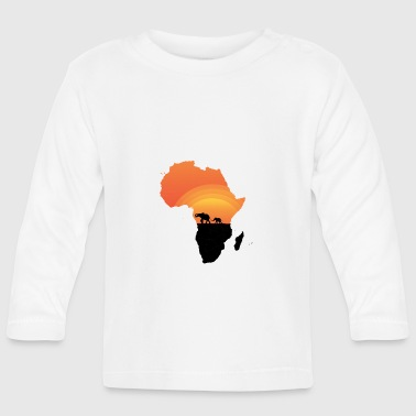 Africa - Elephant - Map - Map - Sunset - Baby Long Sleeve T-Shirt