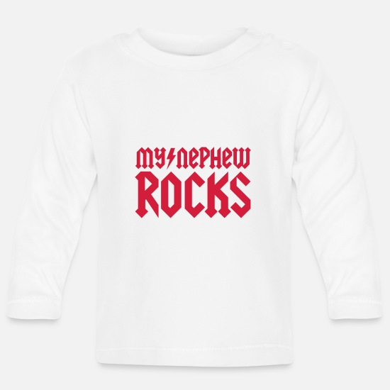 Birthday Baby Clothes - My nephew rocks - Baby Longsleeve Shirt white