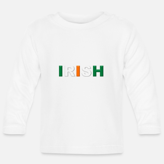 Funny Baby Clothes - IRISH - Baby Longsleeve Shirt white