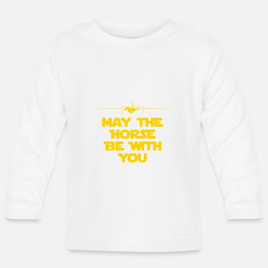 Muscle Car Baby Clothes - MAY THE HORSE BE WITH YOU - Baby Longsleeve Shirt white