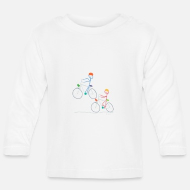 Two Stick Figure Cyclists, Bike Bike Doing Sport - Baby Longsleeve Shirt