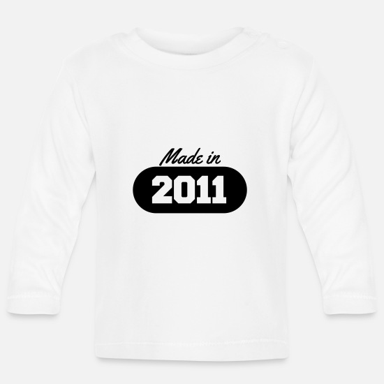 Date Baby Clothes - Made in 2011 - Baby Longsleeve Shirt white