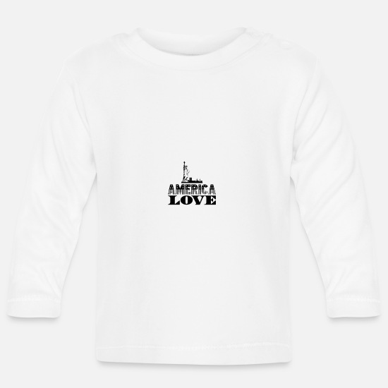 Patriot Baby Clothes - America love patriotism home - Baby Longsleeve Shirt white