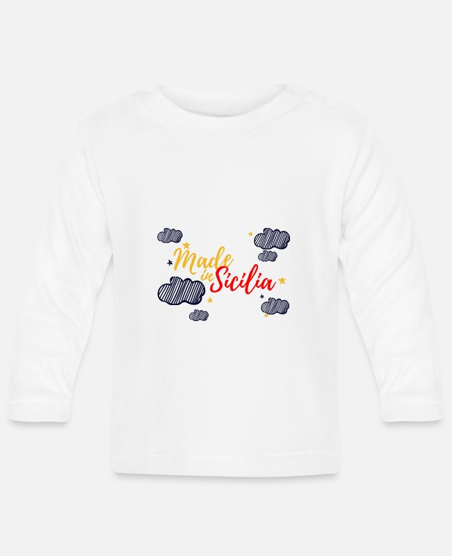 Etna Baby Long-Sleeved Shirts - made in sicily - Baby Longsleeve Shirt white