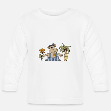 Hippo funny hippo with sunflower Hippo hippo - Baby Long Sleeve T-Shirt