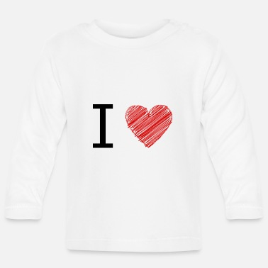 Ilove You Ilove hatching black red - Baby Long Sleeve T-Shirt