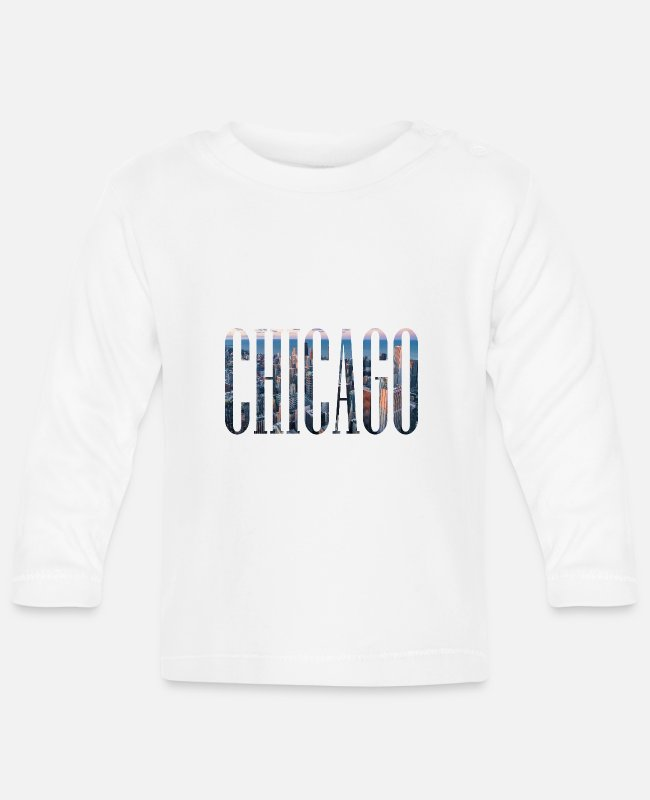 USA Baby Langarmshirts - CHICAGO USA Illinois Skyline Amerika Lake Michigan - Baby Langarmshirt Weiß