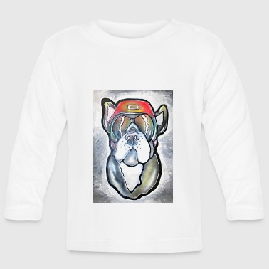 Bulldog - Dog with helmet and sunglasses - Baby Long Sleeve T-Shirt