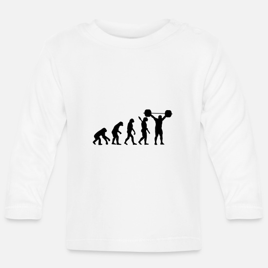Heavyweight Baby Clothes - Evolution of Weightlifter - Baby Longsleeve Shirt white