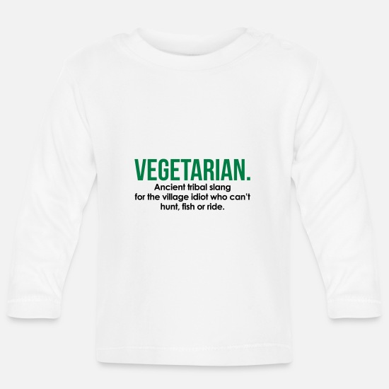 Humour Baby Clothes - Vegetarian Tribal Slang - Baby Longsleeve Shirt white