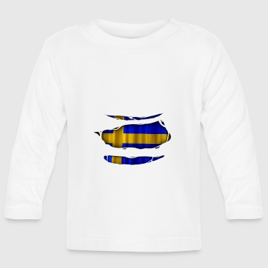 Sweden flag torn 017 - Baby Long Sleeve T-Shirt