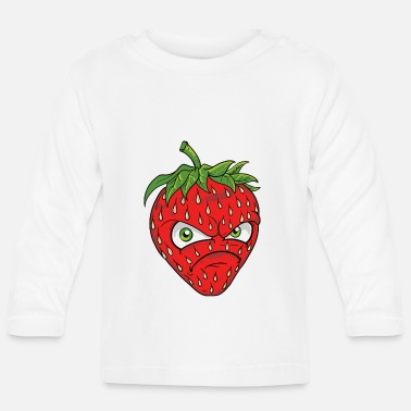 Common Tropical Fruits angry grim strawberry strawberry motif graphic - Baby Longsleeve Shirt