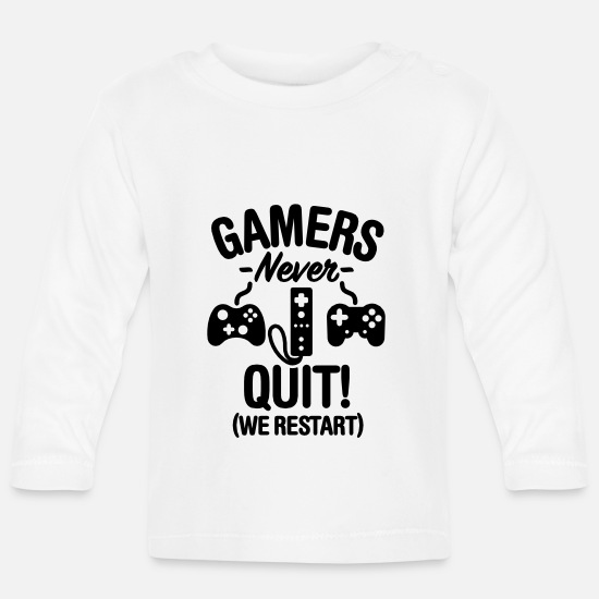 Geek Baby Clothes - Gamers never sleep, we restart - Baby Longsleeve Shirt white
