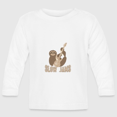 Slow Jams - fun bass guitar sloth gift - Baby Langarmshirt