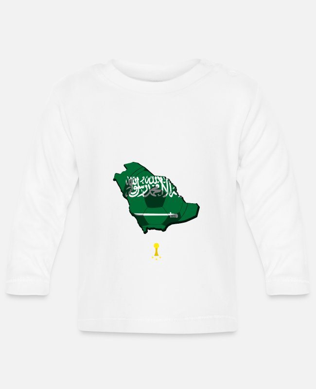 Ball Baby Long-Sleeved Shirts - Fanshirt, football, Saudi Arabia - Baby Longsleeve Shirt white