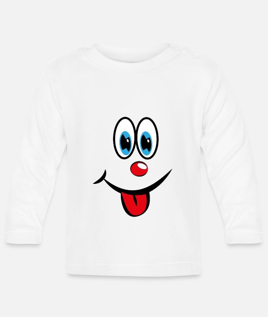 With Baby Clothes - Smiley with tongue - Baby Longsleeve Shirt white