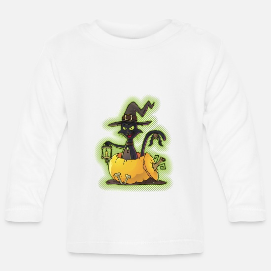 Halloween Baby Clothes - Halloween Black Witch Cat in Pumpkin - Baby Longsleeve Shirt white