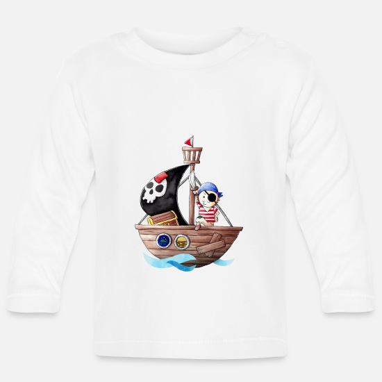 Pirate Baby Clothes - Little pirate with his ship - Baby Longsleeve Shirt white