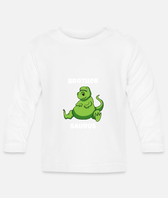 Pregnancy Baby Long-Sleeved Shirts - Brothersaurus Shirt Brother saur tea - Baby Longsleeve Shirt white