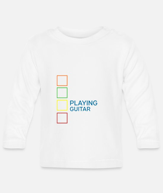 Guitar Baby Clothes - Guitar Musician Music Instrument Love Love Heart - Baby Longsleeve Shirt white