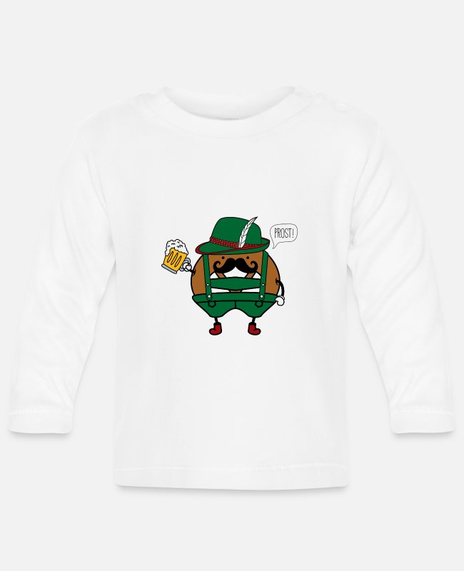 Leather Pants Baby Long-Sleeved Shirts - Oktoberfest potato in costume Prost - Baby Longsleeve Shirt white