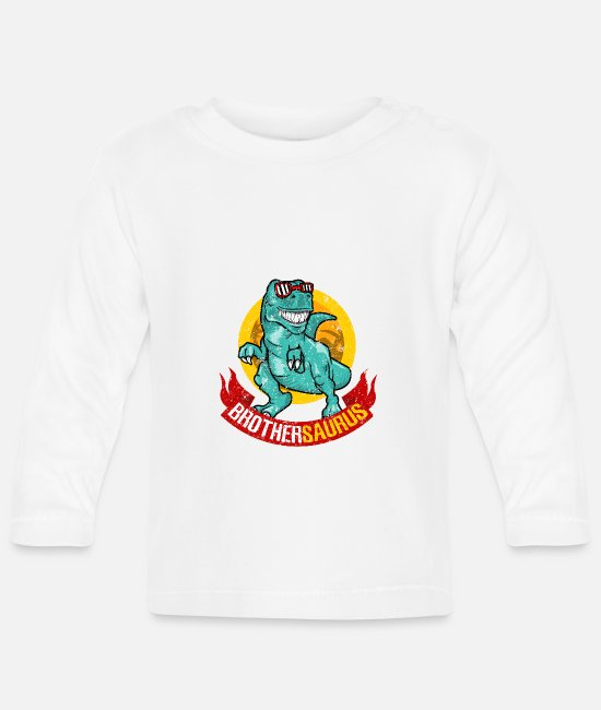 Pregnancy Baby Long-Sleeved Shirts - Brothersaurus dinosaur brother sibling boy - Baby Longsleeve Shirt white