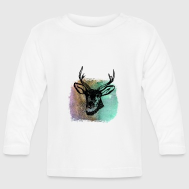 Deer Head Deer deer deer antler deer head deer head t shirt - Baby Long Sleeve T-Shirt