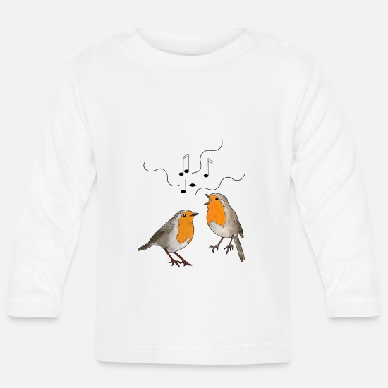 To Sing Baby Clothes - Singing robins - Baby Longsleeve Shirt white