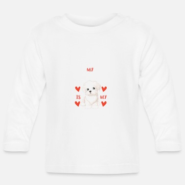 Beady Eyes Sweet Maltese White Puppy for Valentine's Day - Baby Longsleeve Shirt
