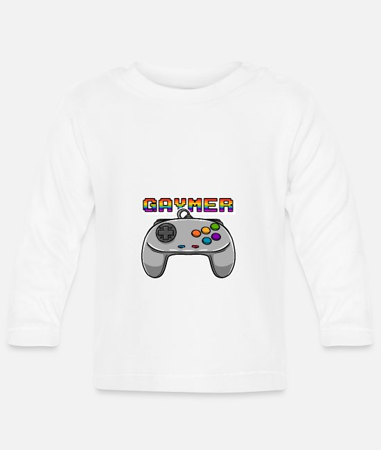 Hipster Baby Long Sleeve Shirts - LGBTQ Video Games Pride Equality Gamer Convention - Baby Longsleeve Shirt white