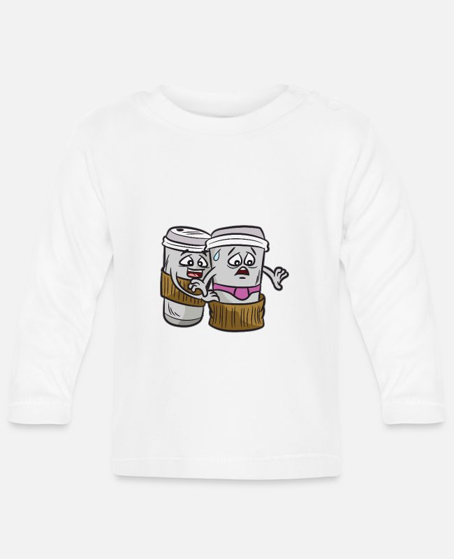 Coffee To Go Baby Long-Sleeved Shirts - Naughty coffee saying underwear coffee-to-go - Baby Longsleeve Shirt white