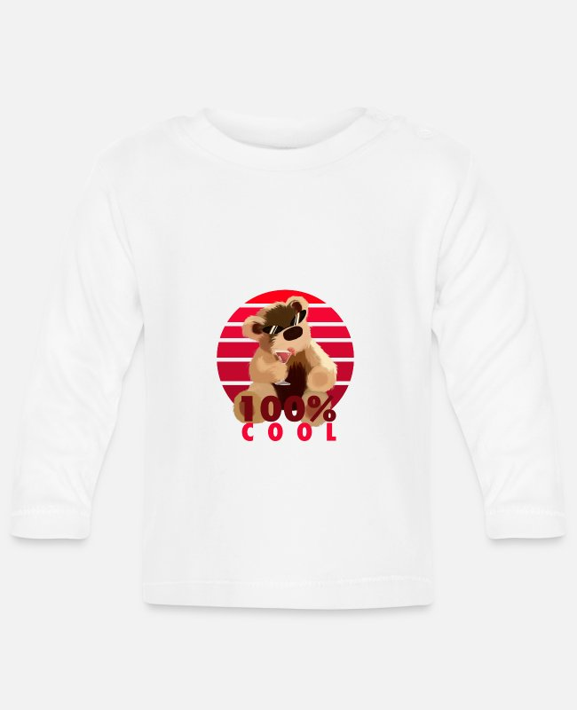 Teddy Bears Baby Long-Sleeved Shirts - Teddy is 100% cool - Baby Longsleeve Shirt white