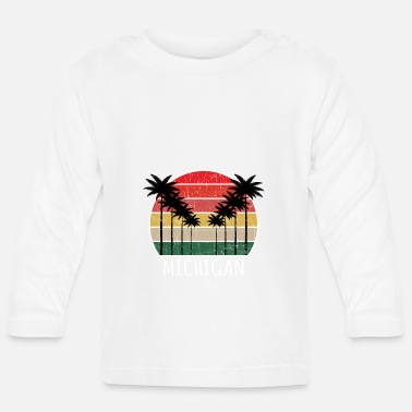 Cute Country T Palm Tree Distressed Michigan - Beach Design T-Shi - Baby Langarmshirt