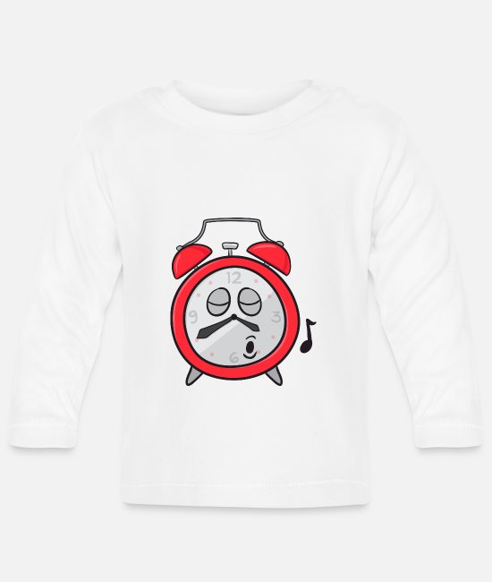 Broken Baby Clothes - Alarm Clock - Baby Longsleeve Shirt white