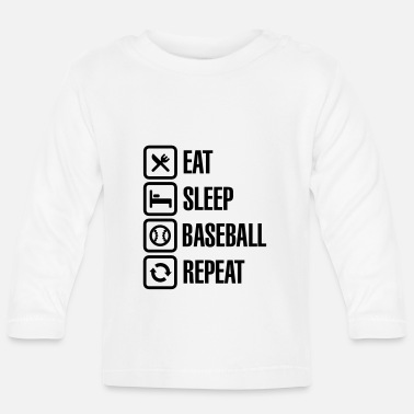 Softboll Eat, Sleep, Baseball / Softball, Repeat - Långärmad baby T-shirt