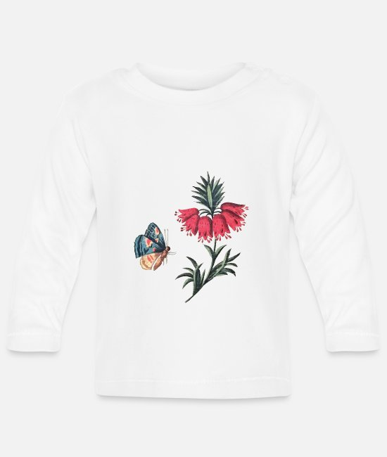 Red Baby Long-Sleeved Shirts - Flying butterfly with flowers - Baby Longsleeve Shirt white