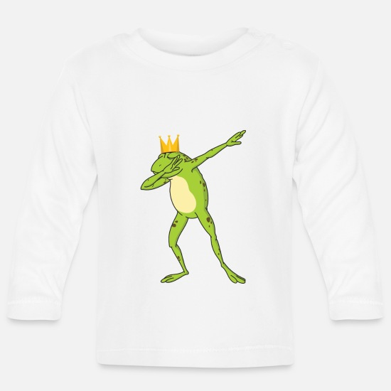 Crown Baby Clothes - Dabbing Frog Gift Colorful - Frog Dab Sweet - Baby Longsleeve Shirt white