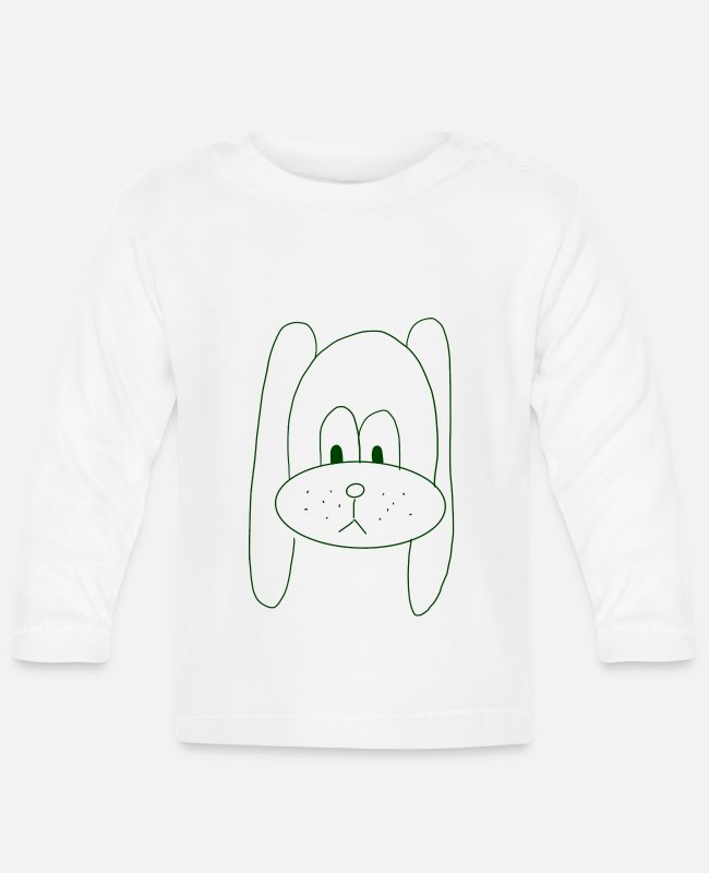 Isolated Baby Long-Sleeved Shirts - Hand drawn dog green - Baby Longsleeve Shirt white
