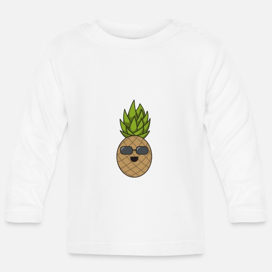 Sunglasses Baby Clothes - Pineapple cool gift sunglasses summer fruit - Baby Longsleeve Shirt white