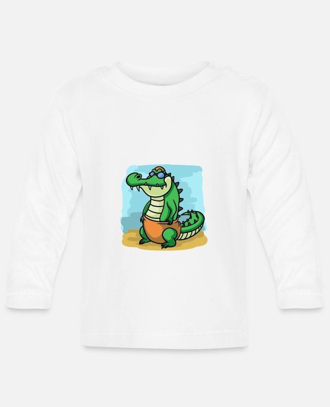 Beach Baby Long-Sleeved Shirts - Crocodile in swimming outfit Crocodile Hits the Summ - Baby Longsleeve Shirt white