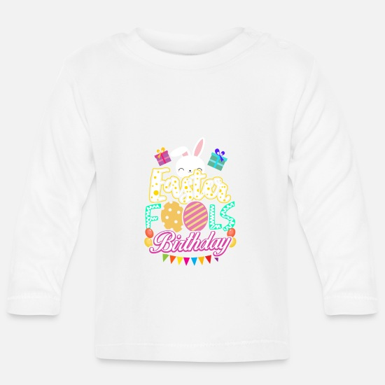 April Baby Clothes - Easter Birthday April Fool April 1st gift - Baby Longsleeve Shirt white