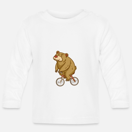 Sports Baby Clothes - Bear - Biking - Sports - Gift - Baby Longsleeve Shirt white