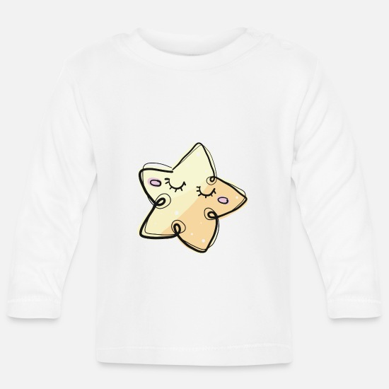 Shooting Star Baby Clothes - ASTERISK - Baby Longsleeve Shirt white