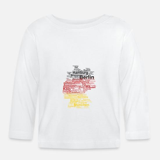 Köln Karte Deutschland.Deutschland Umriss Städte Flagge Karte Berlin Köln Baby Langarmshirt Weiß