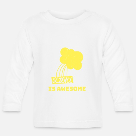 Science Baby Clothes - Science is Awesome - Baby Longsleeve Shirt white