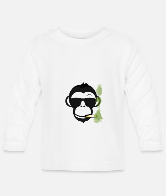 Chant Baby Clothes - Monkey smoker cannabis party - Baby Longsleeve Shirt white