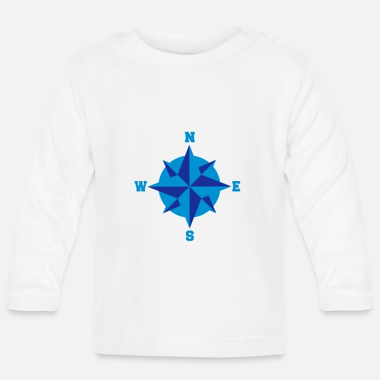 Captain Baby Clothes - compass_2c - Baby Longsleeve Shirt white