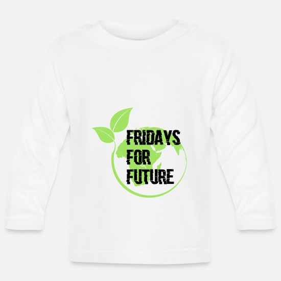 Gift Idea Baby Clothes - Fridays for Future Gift - Baby Longsleeve Shirt white
